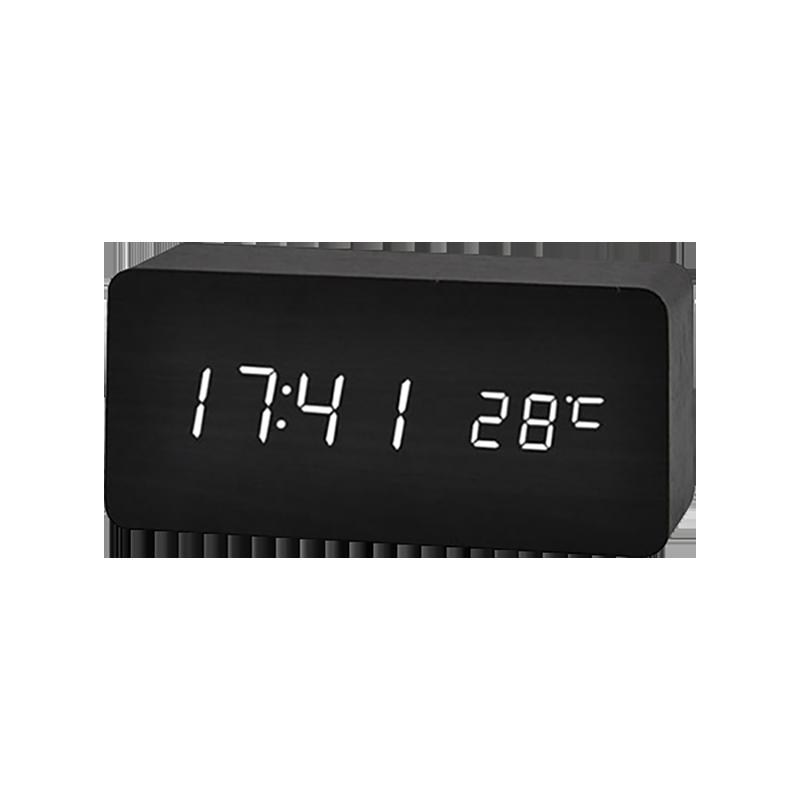 BLADE長方形聲控LED木質時鐘 現貨 當天出貨 鬧鐘 數字鐘 木頭鐘 溫度計 萬年曆【coni shop】