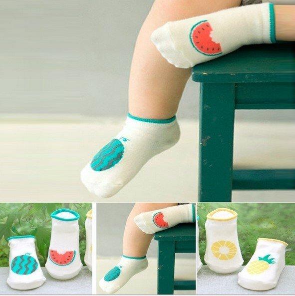 =優生活=韓國不對稱西瓜鳳梨水果男女寶寶小襪子兒童短襪 新生兒襪子
