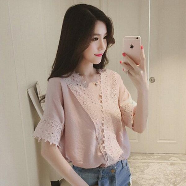 糖衣子輕鬆購【GH2501】韓版時尚百搭優雅鏤空蕾絲V領上衣