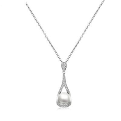 ~925純銀項鍊 鍍白金鑲鑽吊墜~簡約復古珍珠 情人母親節 女飾品73ct102~ ~~米