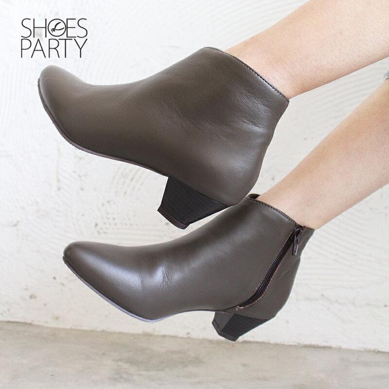 【B2-18115L】羊皮素面安定低跟短靴_Shoes Party 1