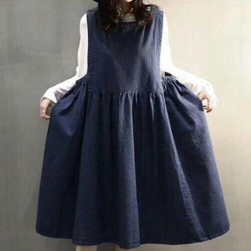 韓風牛仔裙娃娃裝寬鬆百搭大口袋牛仔背心裙艾爾莎【TAK6673】