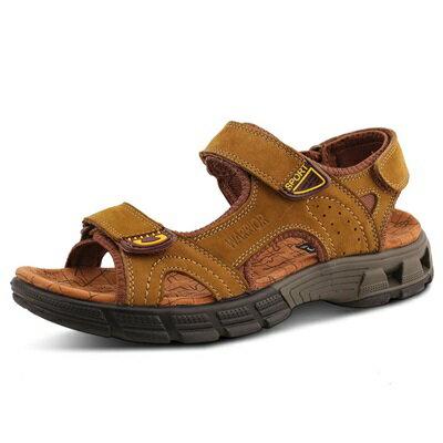 涼鞋真皮拖鞋-戶外休閒舒適透氣男鞋子3色73sa20【獨家進口】【米蘭精品】