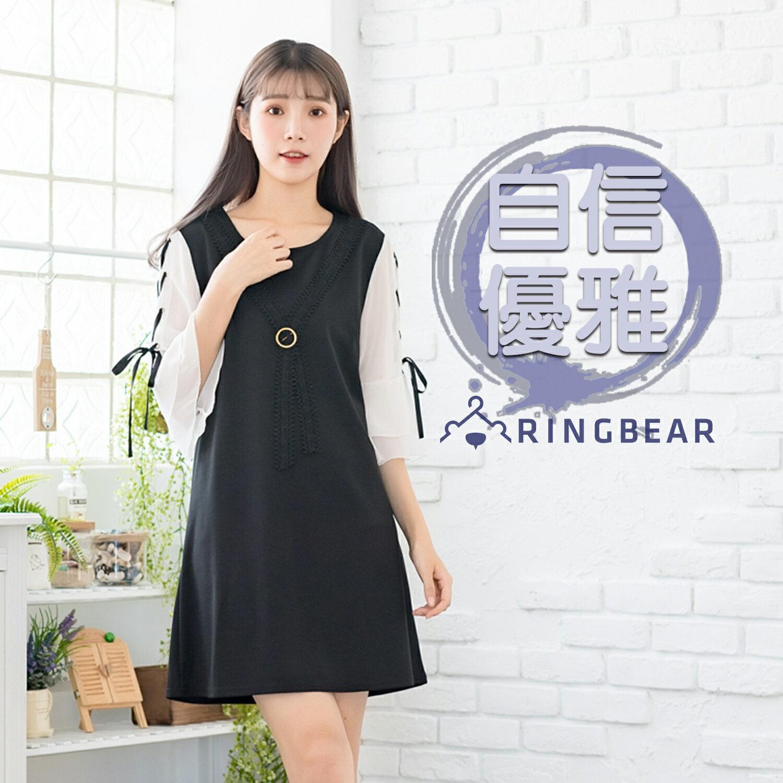 黑色洋裝--優雅蕾絲別針領結拼色綁帶五分雪紡荷葉袖A字連身裙(黑L-3L)-D418眼圈熊中大尺碼 0