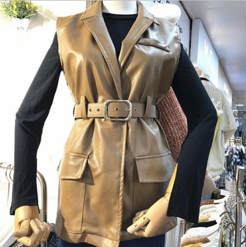 無袖皮衣 韓國秋裝新款百搭中長款無袖PU皮背心女修身翻領馬甲外套 唯伊時尚