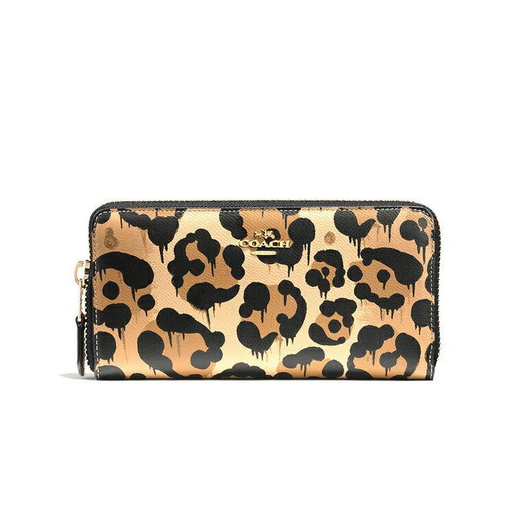 COACH F53477 錢包皮豹紋女士拉鏈長錢包錢夾零錢包手拿包卡包 豹紋