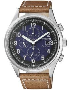 CITIZEN星辰CA0621-05L時刻潮流光動能三眼計時腕錶咖啡+藍面42mm