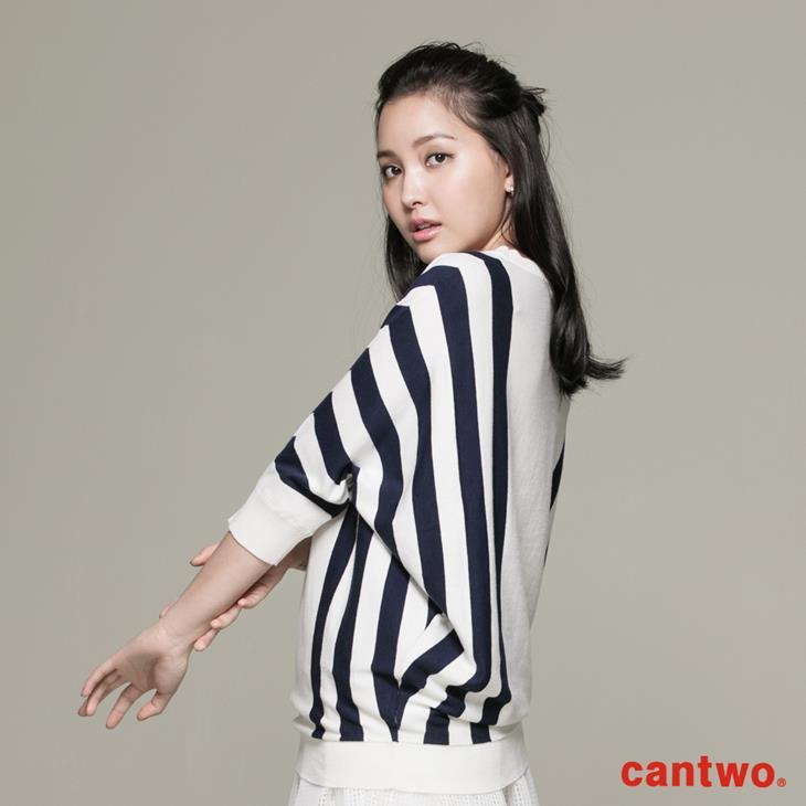 cantwo條紋落肩袖上衣(共二色) 2