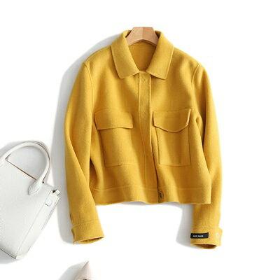 毛呢外套羊毛大衣-短版翻領大口袋黃色女外套73ty6【獨家進口】【米蘭精品】