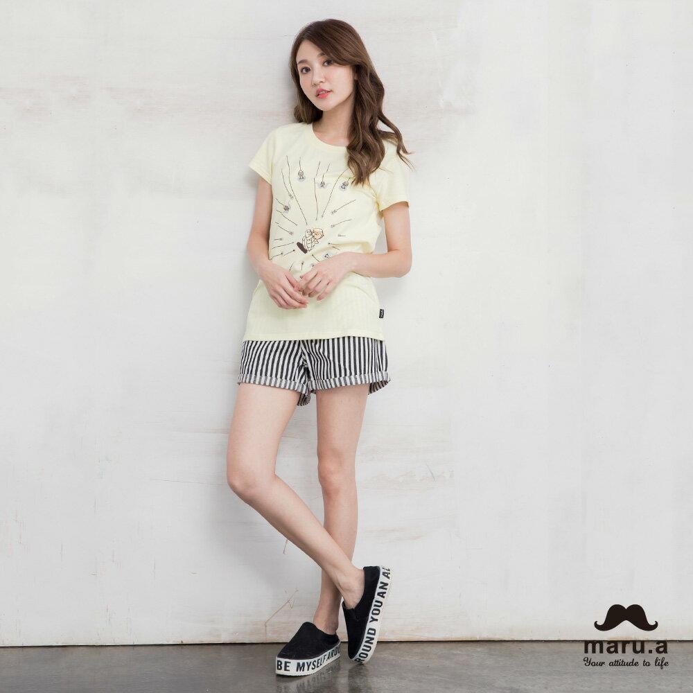 【maru.a】彩色方塊刺繡直條紋短褲(2色)7925112 4