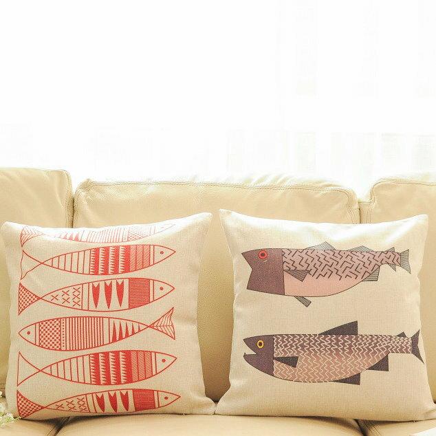 45*45日式現代中式簡約清新魚棉麻 靠枕抱枕套 沙發靠墊 家居酒吧 /單面圖案