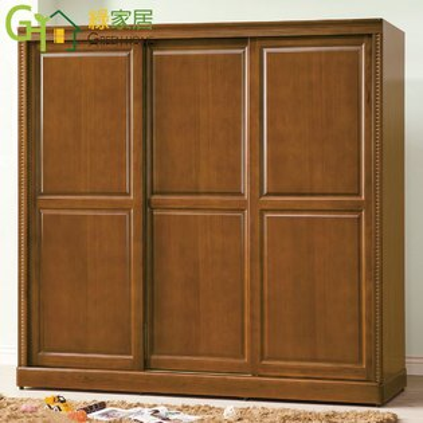 【綠家居】蘇可雅典雅7尺實木推門式衣櫃收納櫃(四抽屜+吊衣桿+穿衣鏡)