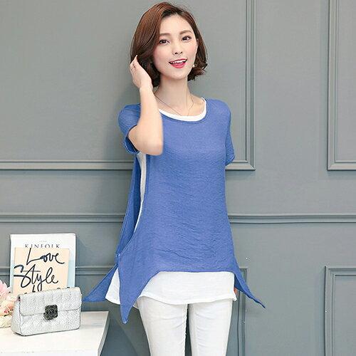 韓版圓領套頭雪紡衫(3色M~4XL)【OREAD】 0