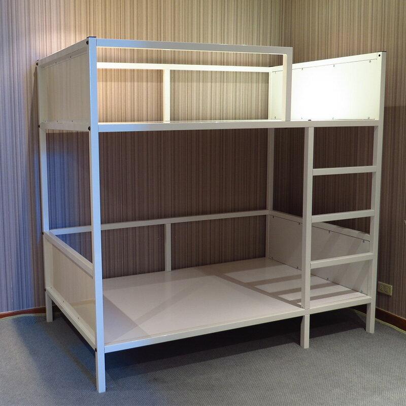 DIY床組 寢具 雙層床 床架/床台/床板 免螺絲角鋼床 歐風象牙白質感封板床架 空間特工