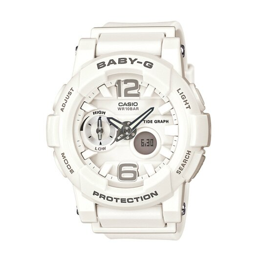 CASIO BABY-G BGA-180-3B衝浪滑板雙顯流行腕錶/白面44mm