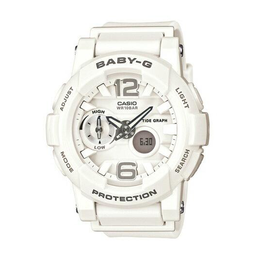CASIOBABY-GBGA-180-7B1衝浪滑板雙顯流行腕錶白面44mm
