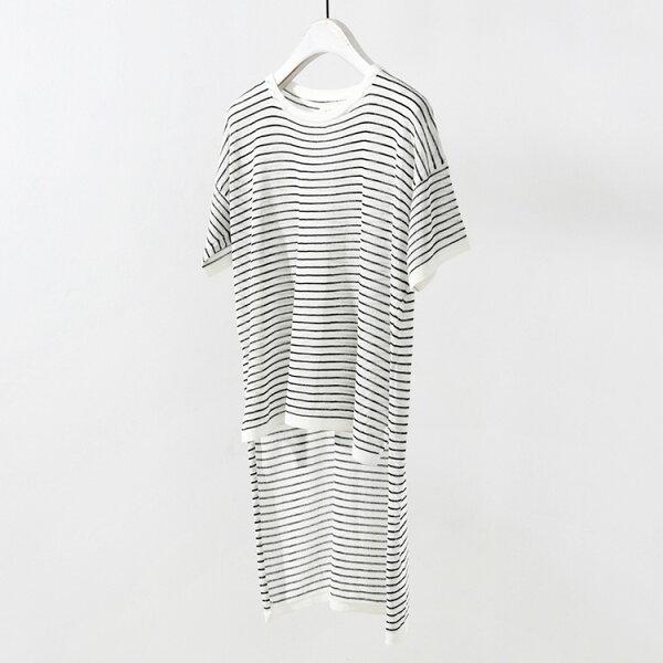 針織衫 前短後長條紋上衣T恤 韓版 預購【83-14-85234】ibella 艾貝拉