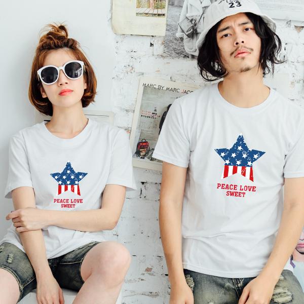 T恤 情侶裝 客製化 MIT 製純棉短T 班服◆ 出貨◆ 配對情侶裝.藍紅圓圈星星【YC229】可單買.艾咪E舖