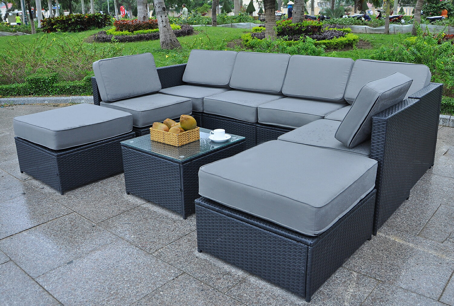 MCombo 9pcs Black Wicker White Cushion Patio Sectional Outdoor Sofa  Furniture set 6085-1009EY