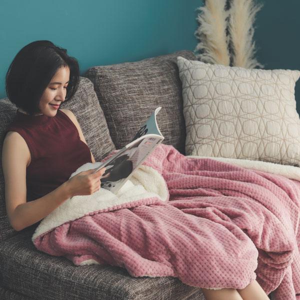 【熱銷破2千條】日本同步法蘭絨x羊羔絨毯-5色 毛毯 / 毯子 / 保暖 / 柔軟 台灣製造 翔仔居家 外島運費另計 3