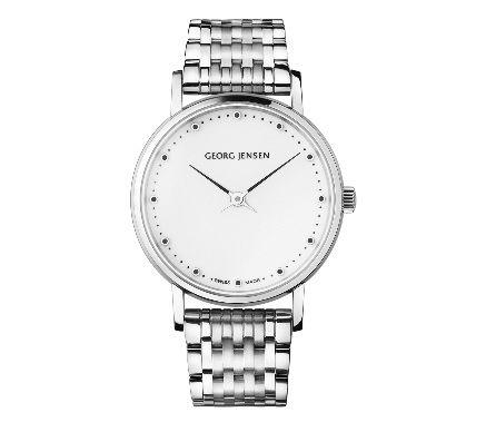 喬治傑生(GEORG JENSEN)-KOPPEL 424白色錶盤雙指針腕錶搭配金屬鍊帶-28 MM