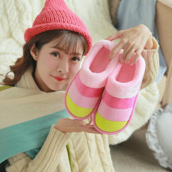 PS Mall 三色條紋包跟拼色棉鞋 拖鞋【J965】