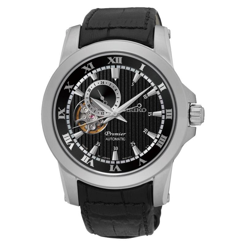 Seiko精工 Premier 4R39-00L0P(SSA277J2)24小時盤羅馬鏤空機械腕錶/黑面41.5mm