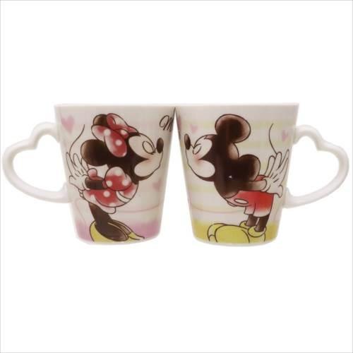 X射線【C064519】米奇Mickey米妮Minnie愛心手把馬克杯對杯,水杯馬克杯情侶對杯湯杯玻璃杯不鏽鋼杯漱口杯