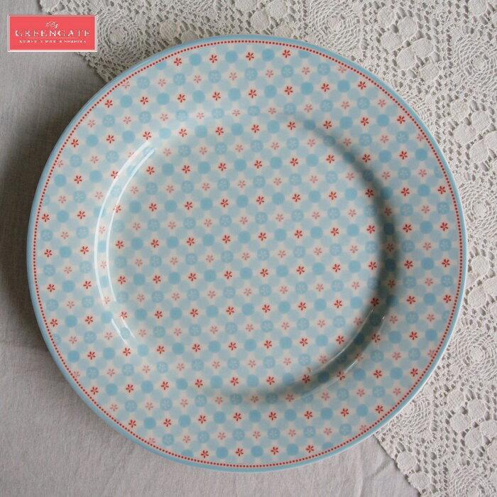 【預購】GreenGate  餐盤 / 點心盤   20.5cm  小清新款~天藍底配小紅花 - 限時優惠好康折扣