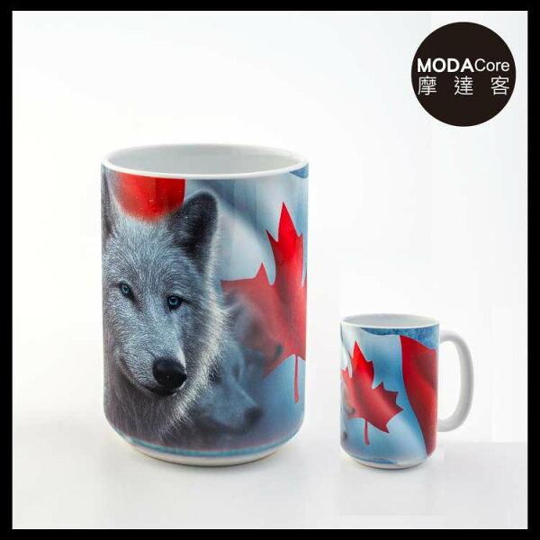 【摩達客】(預購)美國TheMountain加拿大白狼圖案設計藝術馬克杯440ml