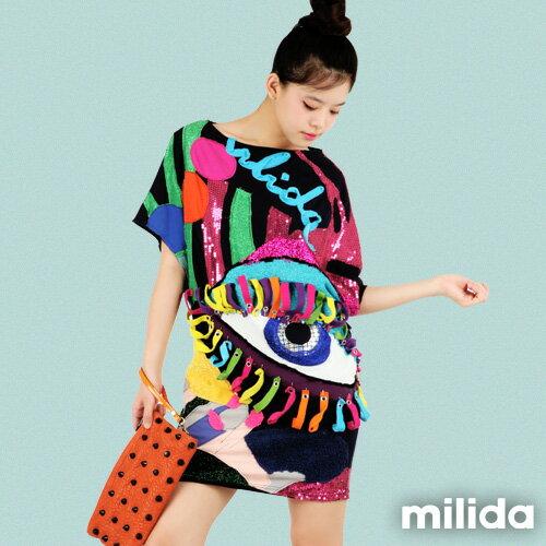 【Milida,全店七折免運】-春夏商品-拼貼款-獨家設計洋裝