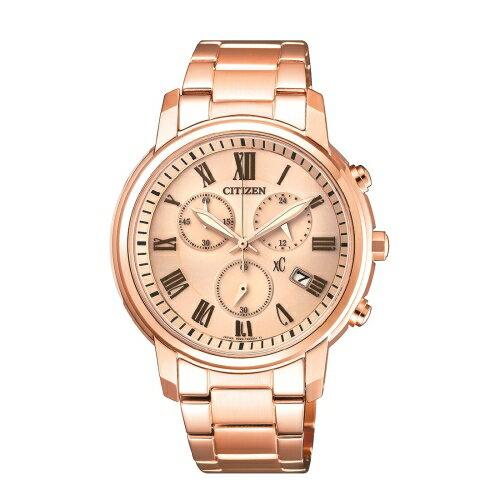方采鐘錶 CITIZEN XC 優雅甜美三眼時尚玫瑰金腕錶/ FB1432-55X