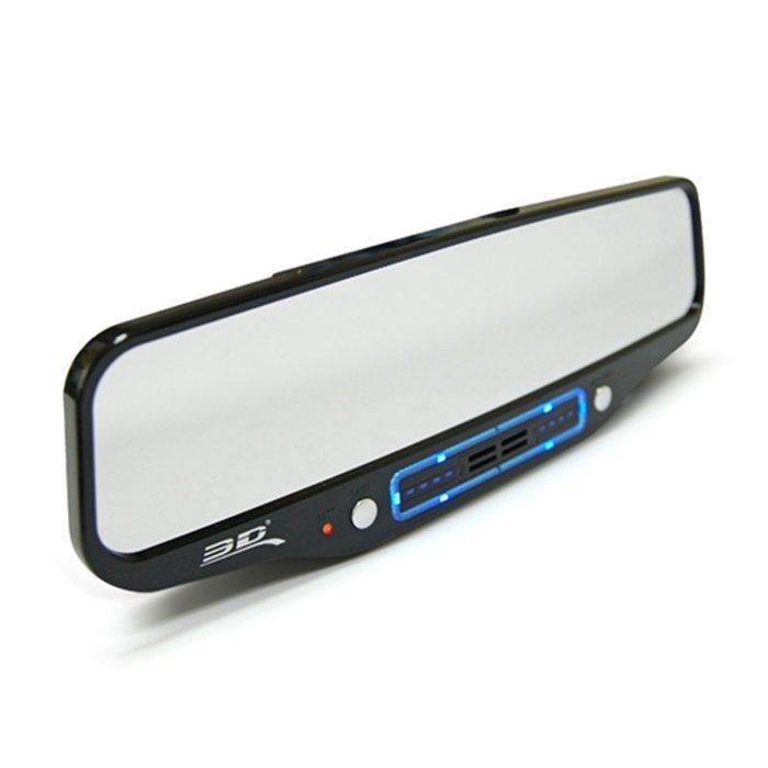 權世界@汽車用品 3D多功能後視鏡式空氣清淨器機 驗鈔燈氣氛燈精油芳香電瓶檢測 9372