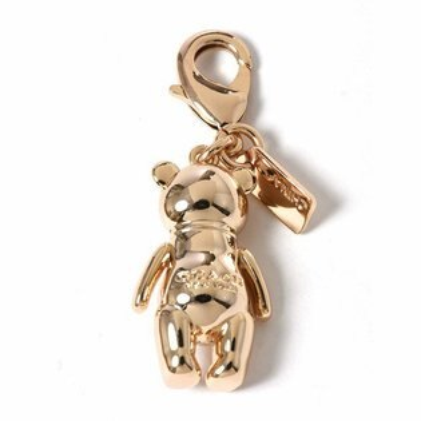 美國百分百【全新真品】Coach鑰匙圈58811泰迪熊小熊掛飾鎖圈鎖匙扣環式專櫃精品配件H824