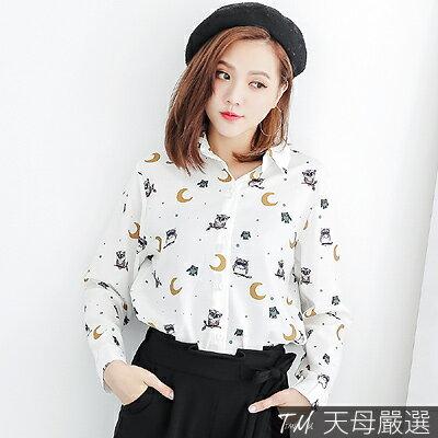 【天母嚴選】正韓-滿版貓頭鷹印花長袖襯衫