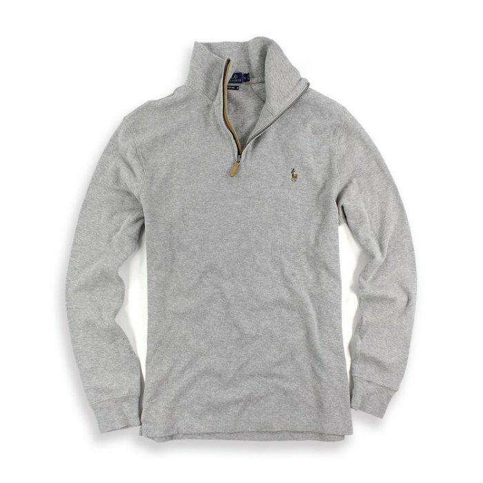 美國百分百【Ralph Lauren】針織衫 RL 彩馬 半拉 立領 夾克 Polo 長袖 上衣 灰色 S號 I447