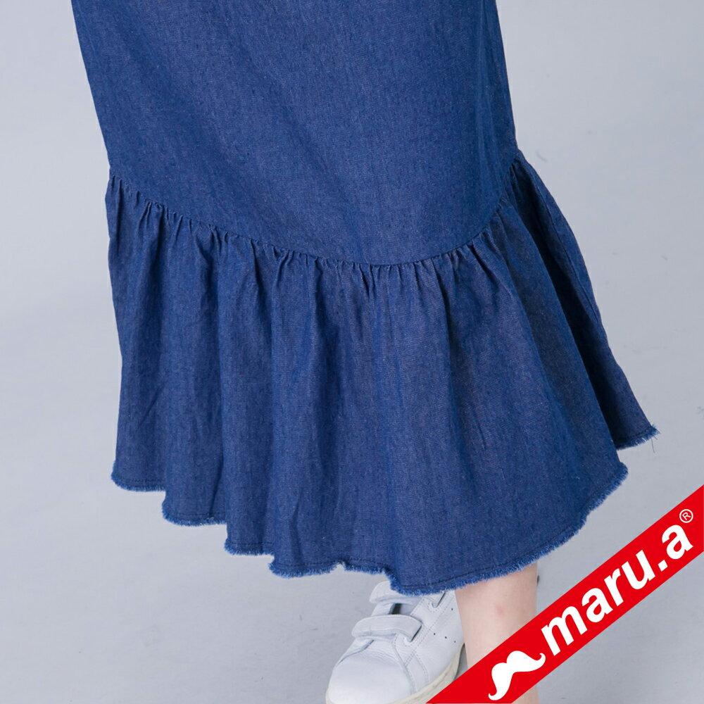 【maru.a】綁帶裝飾魚尾裙襬長洋裝(深藍) 4