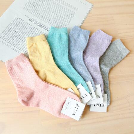 韓國 春夏色調素色實搭細坑條短襪 四分襪 中筒襪 素面百搭 學生襪 短襪 襪子 實穿【N201412】