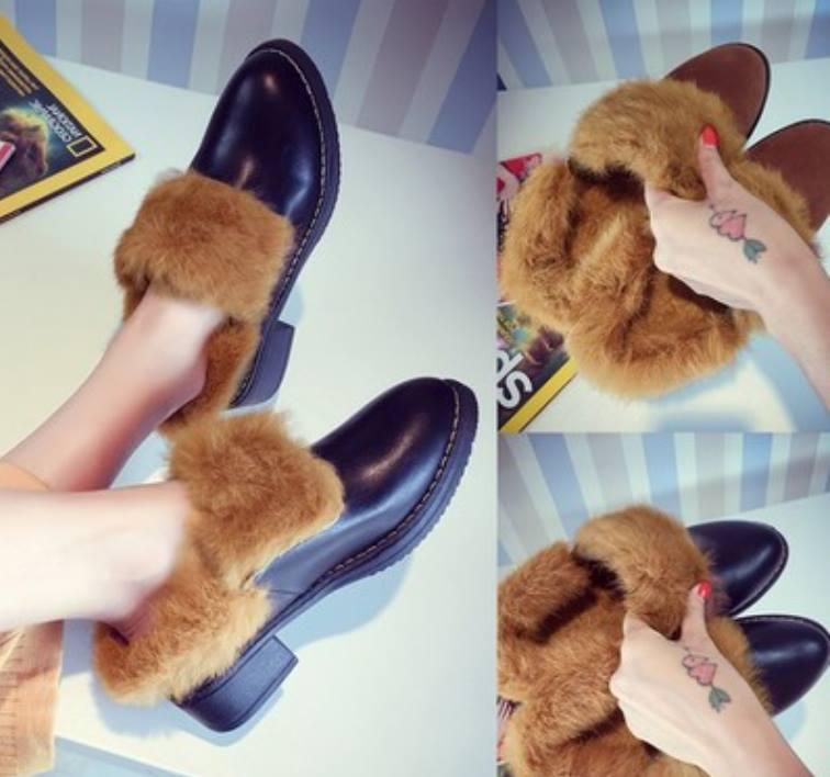歐美新款慵懶舒適感暖暖毛毛反折外翻兩穿皮靴短靴兔毛皮鞋低跟