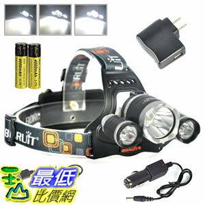 [107美國直購] BORUIT RJ-3000 6000 Lumens Bright Headlight Headlamp Flashlight Torch CREE XM-L2 + 2 XPG L..