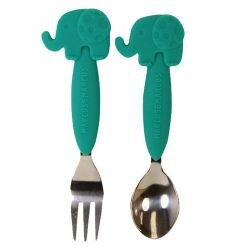加拿大 MARCUS&MARCUS 動物樂園不鏽鋼叉匙餐具組-大象★衛立兒生活館★