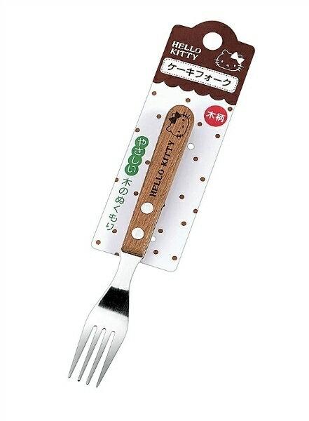 【真愛日本】15103000029 不鏽鋼木柄小叉子-大頭黑結 三麗鷗 Hello Kitty 凱蒂貓 叉子 餐具