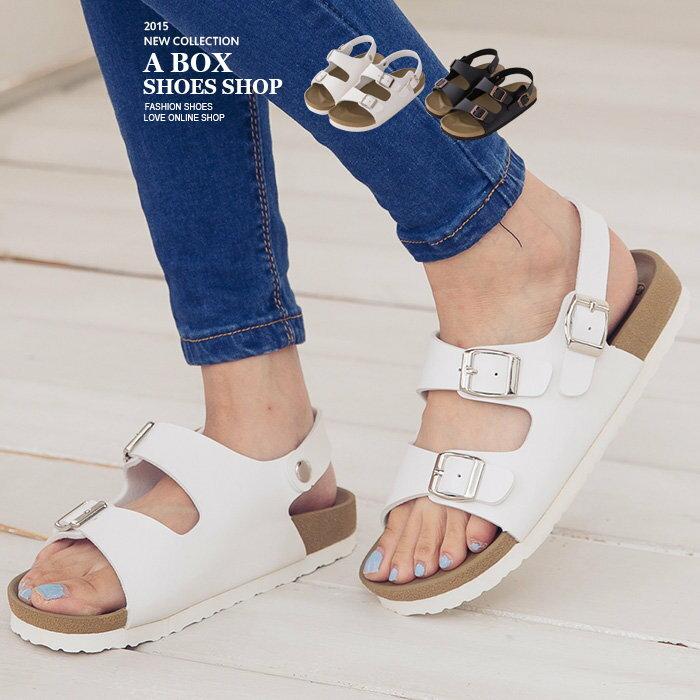 ~AW9231~MIT 製 春夏美型舒適皮革 金屬扣環 羅馬涼鞋 2色