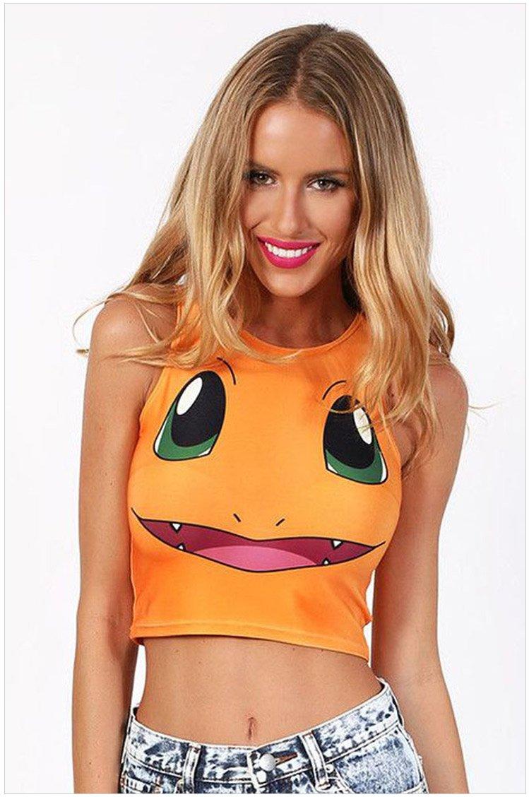 網路熱門話題款式 寶可夢 pokemon go 無袖圓領貼身小火龍印花性感神奇寶貝背心T恤