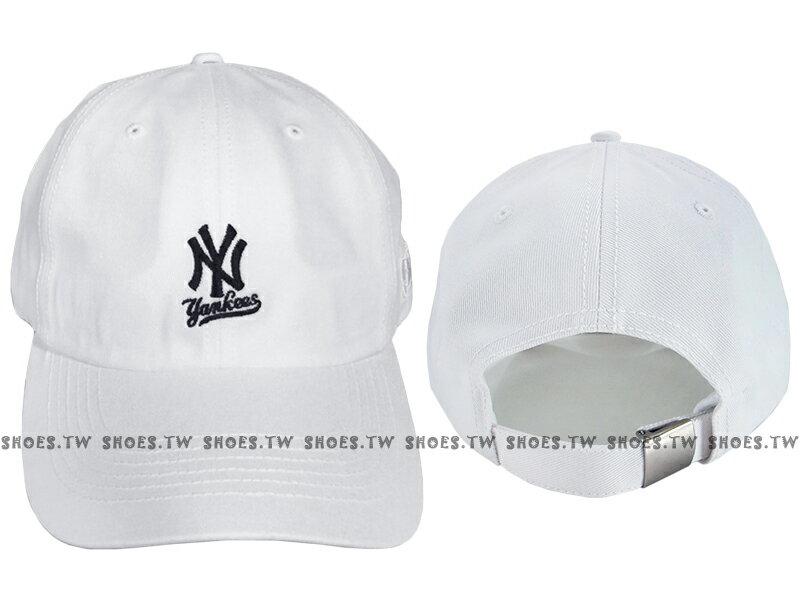 Shoestw【5762004-800】MLB 美國大聯盟 調整帽 老帽 洋基隊 小LOGO 白色 男女都可戴