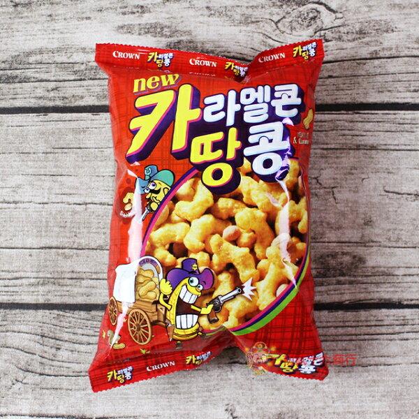【0216零食會社】韓國Crown焦糖花生脆果72g