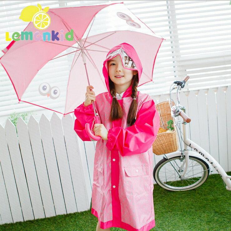 Lemonkid◆兒童卡通貓頭鷹小眼睛直桿型雨傘-玫紅色小眼睛