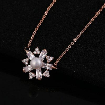 玫瑰金項鍊 珍珠純銀吊墜~精美水晶鑲鑽雪花生日情人節 女飾品73dw155~ ~~米蘭 ~