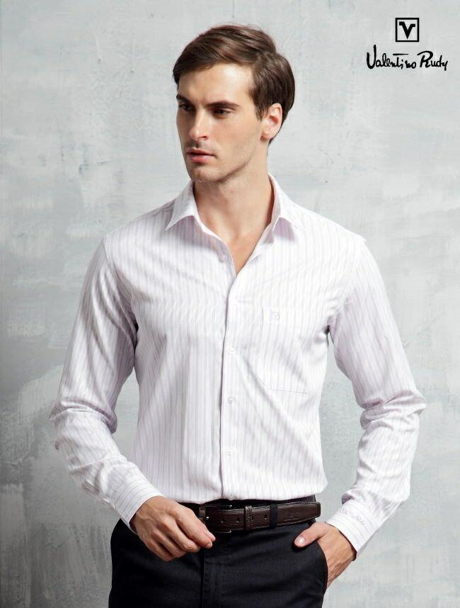 Valentino Rudy范倫鐵諾.路迪長袖襯衫-紫斜紋