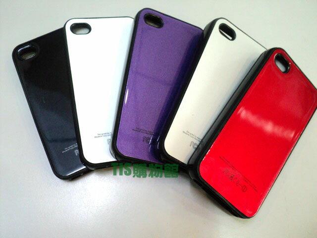 Apple I phone 4S/iPhone 4 專用 光油亮面 雙料保護套 保護殼 保護套 手機套 背蓋 背殼 亮面軟殼 TPU軟膠邊框